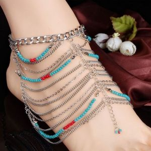 Beaded Silver Chainlink Anklet